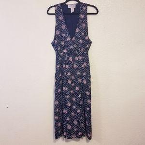 Vintage floral print jumper midi dress